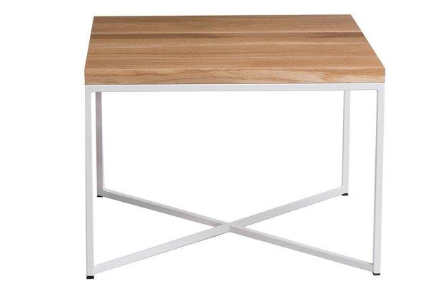 kleiner tisch taco 60x60 weiss profil 15 mm lakierte echte tischplatte aus eichenholz wei. Black Bedroom Furniture Sets. Home Design Ideas